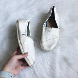 TOMS White Glitter Slip On Shoe SZ 10